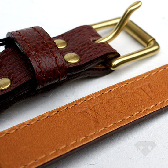 Woof NY Oxblood Leather Dog Collar