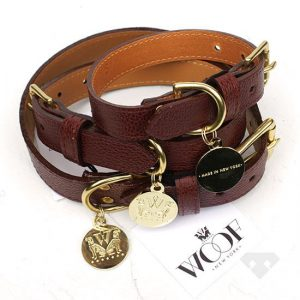Woof NY Oxblood Leather Dog Collar