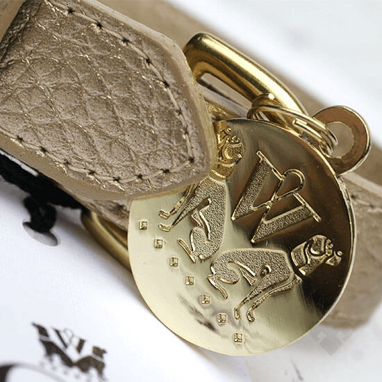 Woof NY Gold Leather Dog Collar