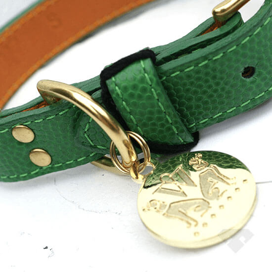 Woof NY Green Leather Dog Collar