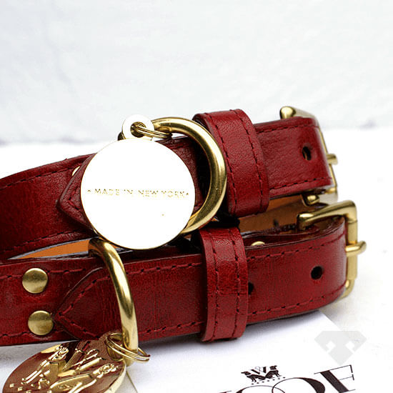 Woof NY Red Leather Dog Collar